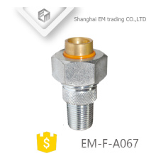 EM-F-A067 Brass Male Union Nickel Plated Russia Pipe Fitting With Nuts